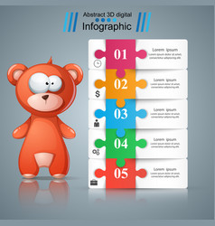 bear toy cartoon paper infographic vector image