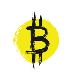 Bitcoin icon from grunge brush strokes vector