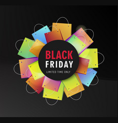 Black friday sale poster with shopping bags vector