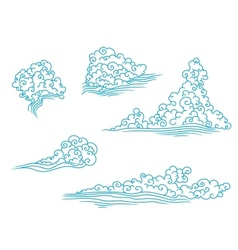 Blue and fluffy clouds set vector