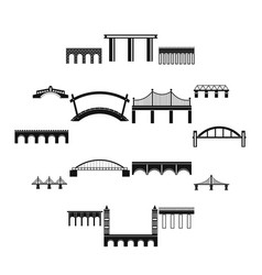bridge set icons simple style vector image