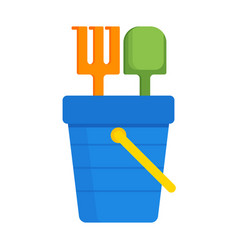 bucket and spade with sand flat icon isolated kid vector image