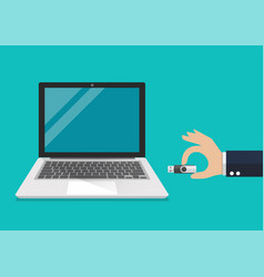 businessman hand holding usb flash drive to vector image