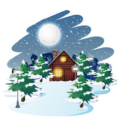 cabin in winter background vector image