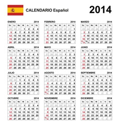 Calendar 2014 Spain Type 21 vector image