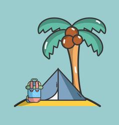 Camping at beach vector