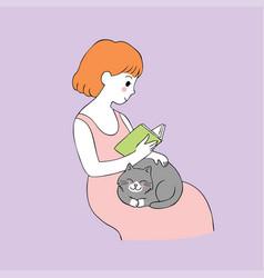 cartoon cute woman reading book and cat vector image