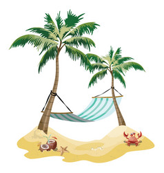 cartoon island in the sea with a chaise longue and vector image