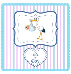 Cartoon stork with baby card vector image
