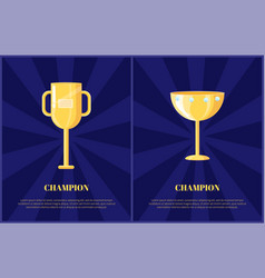 Champion gold award on radiant background poster vector