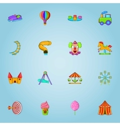 Children park icons set cartoon style vector