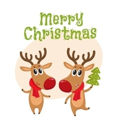 Christmas reindeer in red scarf cartoon vector image
