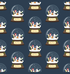 christmas snow globe with penguins seamless vector image