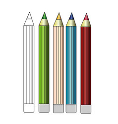 colored pencil set loosely arranged on white vector image