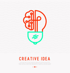 creative idea icon lightbulb in brain shape vector image