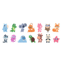 Cute animals cartoon baby pets and forest wild vector
