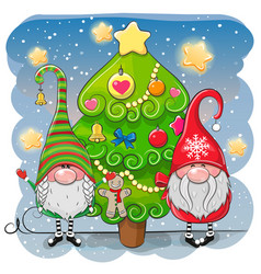 cute cartoon gnomes and christmas tree vector image