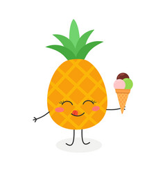 cute cartoon pineapple with ice cream vector image