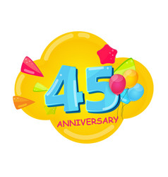 cute cartoon template 45 years anniversary vector image