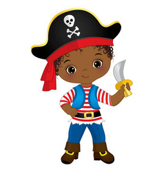 Cute little black pirate wearing hat with skull vector