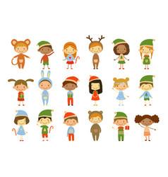 Cute little kids wearing christmas costumes set vector