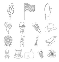 Day of patriot holiday outline icons in set vector