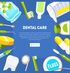 Dental care banner template dentist tools and vector