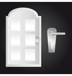 Door and door lock over black background vector