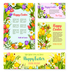easter banner template set with egg and flower vector image vector image