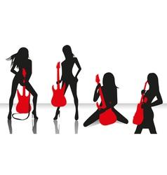 elegant silhouette girls vector image