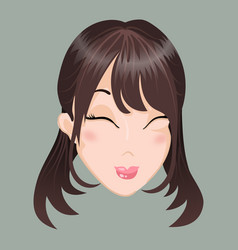 Emoticon asia girl delight vector