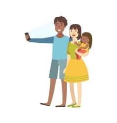 Family Taking Pictures With Photo Camera vector