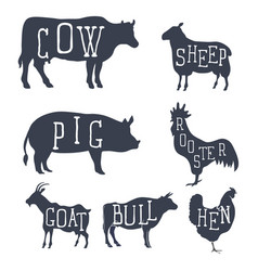 farm animals set icons vector image