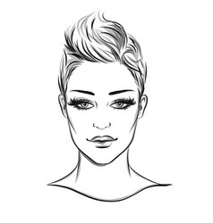 fashion portrait lineart vector image