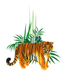 Fat tiger standing among the exotic plants vector