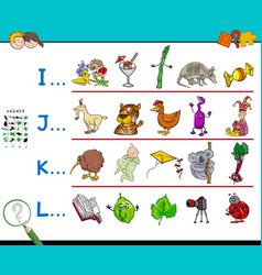 First letter of a word workbook game vector