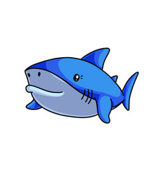 fish monster cute blue shark swimming in deep sea vector image