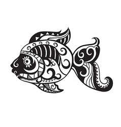 Fish with ornaments in the style of the Maori vector