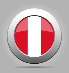 Flag of peru metal gray round button vector