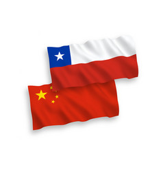 Flags chile and china on a white background vector