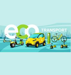 flat eco transport vector image