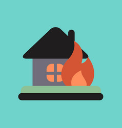 flat icon on stylish background fire house vector image
