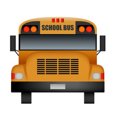 Front of old school bus mockup realistic style vector