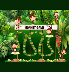 game template with monkeys in jungle vector image