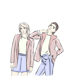 girls of the model street style vector image