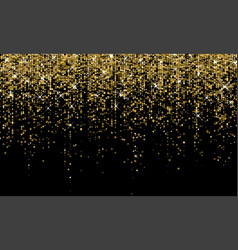 Golden confetti falling on sparkling gold glitter vector