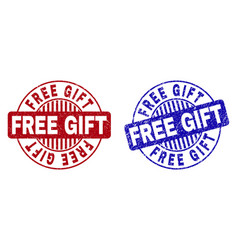 Grunge free gift scratched round watermarks vector
