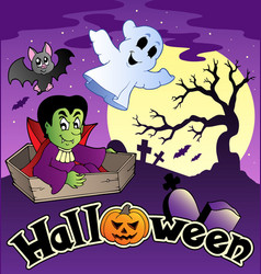 halloween scenery with sign 3 vector image