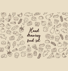 hand drawing food set vector image