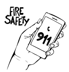 Hand holding mobile phone with number 911 vector image